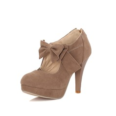 Women's Suede Pumps Platform Closed Toe With Bowknot shoes