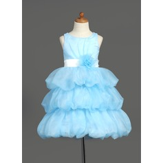 A-Line/Princess Knee-length Flower Girl Dress - Organza/Satin Sleeveless Scoop Neck With Sash/Flower(s)