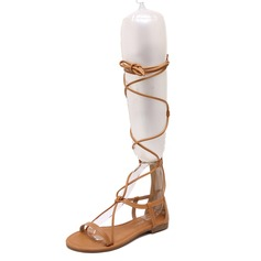 Women's Leatherette Flat Heel Sandals Knee High Boots shoes