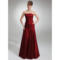 Trumpet/Mermaid Strapless Floor-Length Taffeta Bridesmaid Dress With Ruffle