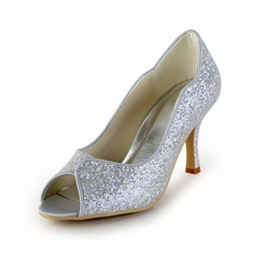 Leatherette Sparkling Glitter Cone Heel Peep Toe Pumps Wedding Shoes (047026398)