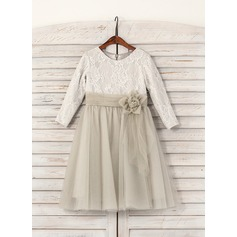 A-Line/Princess Tea-length Flower Girl Dress - Tulle/Lace 3/4 Sleeves Scoop Neck With Flower(s)