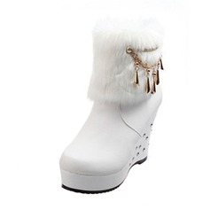 Women's Leatherette Wedge Heel Pumps Platform Closed Toe Wedges Boots Ankle Boots With Rivet Chain Fur shoes
