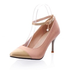 Leatherette Cone Heel Pumps Closed Toe With Buckle shoes