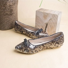 Women's Sparkling Glitter Flat Heel Flats Closed Toe With Bowknot Sequin shoes