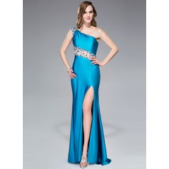 Trumpet/Mermaid One-Shoulder Sweep Train Jersey Prom Dress With Beading Split Front