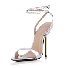 Women's Leatherette Stiletto Heel Sandals Pumps Peep Toe Slingbacks With Buckle shoes (087042770)