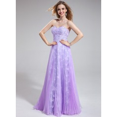 A-Line/Princess Sweetheart Floor-Length Organza Lace Prom Dress With Beading Sequins Pleated