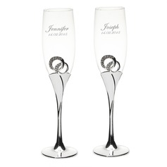 Personalized Zinc Alloy/Glass/Silver Plated Toasting Flutes