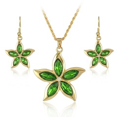 Flower Shaped Alloy Crystal With Rhinestone Ladies' Jewelry Sets