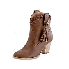 Women's Suede Chunky Heel Ankle Boots Martin Boots With Tassel Split Joint shoes