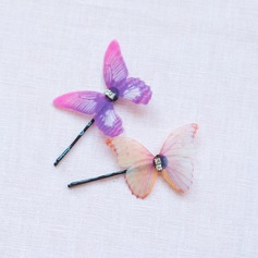 Simple Butterfly Rhinestone/Organza Hairpins (Sold in single piece)