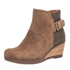 Women's Real Leather Wedge Heel Pumps Closed Toe Boots Ankle Boots shoes