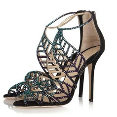 Suede Stiletto Heel Sandals With Rhinestone shoes