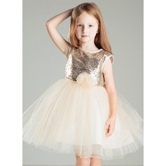A-Line/Princess Short/Mini Flower Girl Dress - Satin/Cotton/Tulle Sleeveless Scoop Neck With Flower(s)