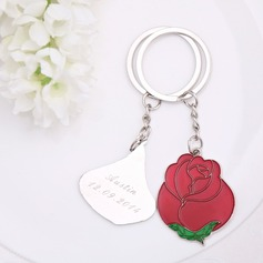 "Personalized ""Love is like a red rose"" Stainless Steel Keychains"