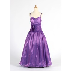A-Line/Princess Floor-length Flower Girl Dress - Organza Sleeveless Sweetheart With Ruffles/Flower(s)