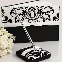 Damask Design Wedding Guest Book and Pen Set in Satin With Ribbon(101018162)