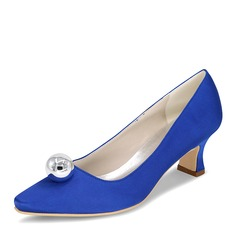 Women's Satin Silk Like Satin Chunky Heel Closed Toe Pumps With Imitation Pearl
