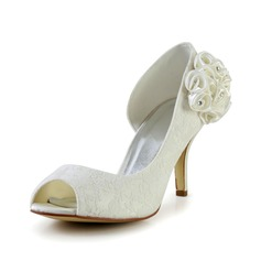 Women's Satin Stiletto Heel Peep Toe Pumps Sandals With Rhinestone Satin Flower