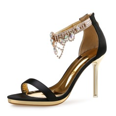Women's Satin Stiletto Heel Sandals Peep Toe With Rhinestone shoes