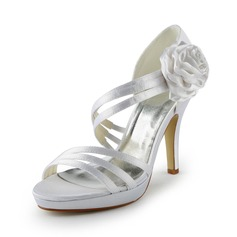 Women's Satin Cone Heel Platform Sandals With Satin Flower