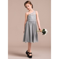 A-Line/Princess Knee-length Flower Girl Dress - Chiffon/Lace Sleeveless One-Shoulder