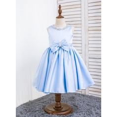 A-Line/Princess Knee-length Flower Girl Dress - Polyester Sleeveless Scoop Neck With Flower(s)/Bow(s)