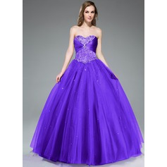 Ball-Gown Sweetheart Floor-Length Tulle Prom Dress With Ruffle Beading Sequins (018047243)