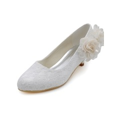 Women's Lace Cone Heel Closed Toe Pumps With Satin Flower