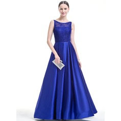 Ball-Gown Scoop Neck Floor-Length Satin Lace Prom Dress