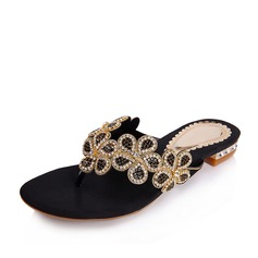 Real Leather Low Heel Sandals Flats Slippers With Crystal shoes