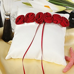 White Ring Pillow With Bold Red Luxury Rose Lined(103018246)