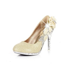 Leatherette Sparkling Glitter Stiletto Heel Pumps With Rhinestone Sparkling Glitter shoes