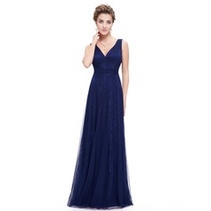 Lace/Satin/Tulle With Stitching/Ruffles Maxi Dress (199090645)