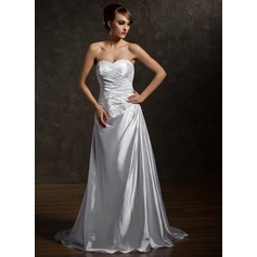 A-Line/Princess Sweetheart Court Train Charmeuse Wedding Dress With Ruffle Beading Appliques Lace