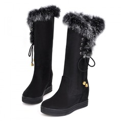 Women's Suede Wedge Heel Mid-Calf Boots With Fur shoes