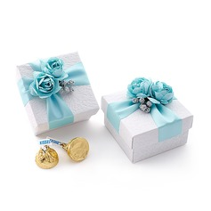 Lovely Cuboid Favor Boxes With Flowers Ribbons (Set of 12)