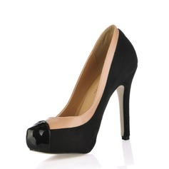 Suede Leatherette Stiletto Heel Pumps Platform Closed Toe With Split Joint shoes