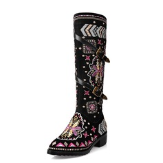 Women's Real Leather Chunky Heel Knee High Boots shoes