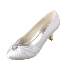 Women's Satin Low Heel Closed Toe Pumps With Rhinestone