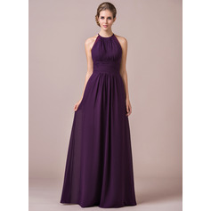 A-Line/Princess Halter Floor-Length Chiffon Bridesmaid Dress With Ruffle Lace (007054347)