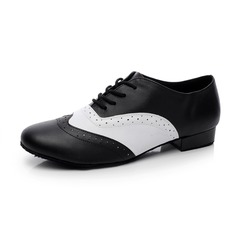 Men's Real Leather Flats Modern Ballroom With Lace-up Dance Shoes