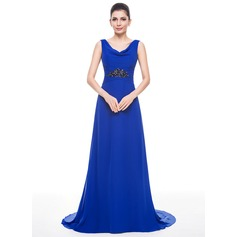 A-Line/Princess Cowl Neck Sweep Train Chiffon Evening Dress With Lace Beading Sequins
