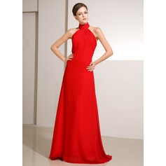 A-Line/Princess High Neck Sweep Train Chiffon Holiday Dress With Ruffle