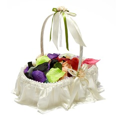 Nice Flower Basket in Satin With Faux Pearl