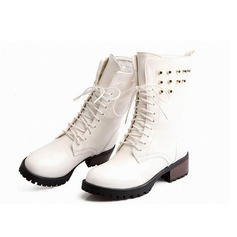 Women's Patent Leather Low Heel Platform Mid-Calf Boots With Braided Strap shoes