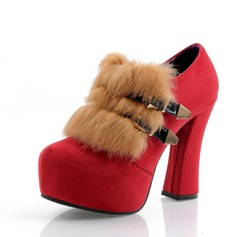 Women's Velvet Chunky Heel Pumps Platform Closed Toe Ankle Boots With Buckle Fur shoes