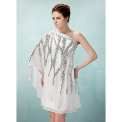 Forme Fourreau Encolure asymétrique Longueur genou Mousseline Robe de cocktail avec Emperler Sequins