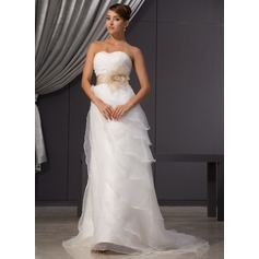 A-Line/Princess Sweetheart Court Train Organza Wedding Dress With Ruffle Sash Beading Flower(s)
